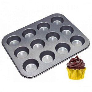 Forma Assadeira Cupcake 12 Cavidades Antiaderente Teflon