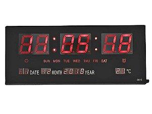 Relógio Led De Parede Display Termômetro Calendário Alarme