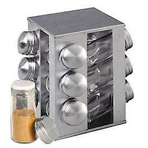 Porta Temperos E Condimentos Em Aço Inox Giratório 12 Potes