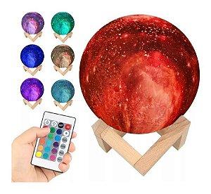 Luminária Galaxy Lua Cheia 3d Usb Touch 15cm Abajur C15