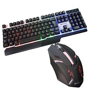 Kit Teclado Semi Mecânico Gamer Mouse Led BS-503+ Mouse pad