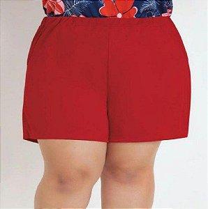 Short Vermelho Plus Size com Bolsos Decorativos GG