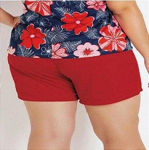 Short Vermelho Plus Size com Bolsos Decorativos XLG