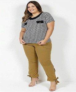 Calça Mescla Amarela Com Amarração Plus Size XXG