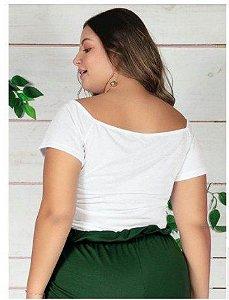 Cropped Branco com Cordão Ajustável Plus Size GG