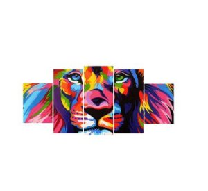 Quadros Decorativos Mosaico Tecido C/ Chassi De Madeira Leão