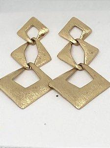 Brinco Dourado Quadrados