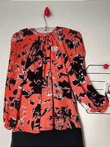 Blusa Fluida Vermelha Estampada Shoulder