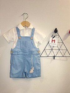 Jardineira Infantil Azul Bebê