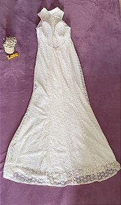 Vestido Longo Off White em Renda