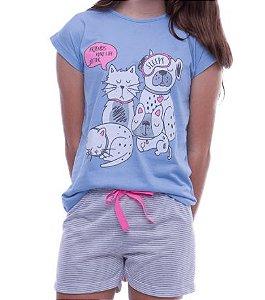 Pijama Infantil Cães e Gatos
