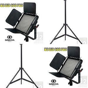 Kit Iluminação Estúdio 2 LED HS600 Pro Greika e Tripés