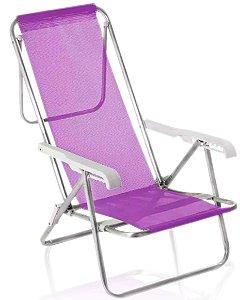 Cadeira De Praia Alumínio Mor Reclinavel 8 Posições Rosa Sannet!!
