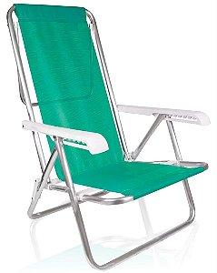 Cadeira De Praia Alumínio Mor Reclinavel 8 Posições Verde Sannet