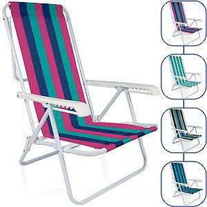 Cadeira De Praia Mor Reclinavel 8 Posições Aço Colorida Sortida