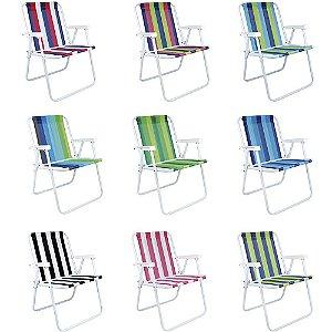 Cadeira De Praia Mor Aço Carbono Alta Colorida Sortida