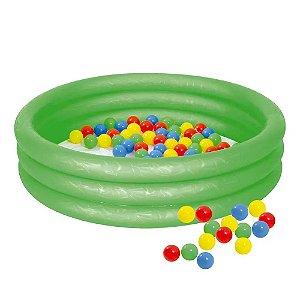 Banheira Inflável Infantil 130 Litros com Bolinhas Verde