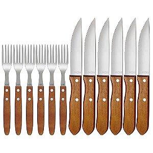 Conjunto p/churrasco garfo e faca 12pcs - MOR