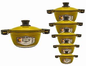 Conjunto Jogo de Panelas 6 Peças Alumínio Fundido Amarelo Gulê