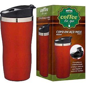 Copo Aço Inox 450ml Coffee To Go Vermelho