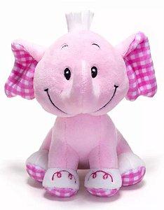 Elefante Pelucia com Chocalho Rosa