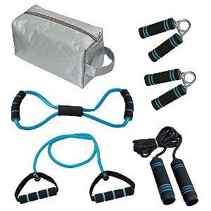 Kit Fitness Com Bolsa 6 Peças Azul MOR