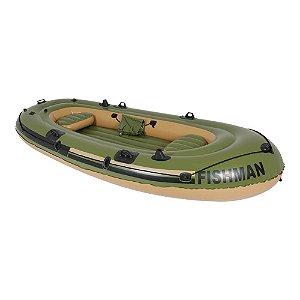 Bote Inflável Mor Barco Fishman para 4 Pessoas Com Remos Bote Mor