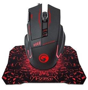Kit Mouse Gamer Marvo Scorpion G909 3200Dpi e Mousepad G1
