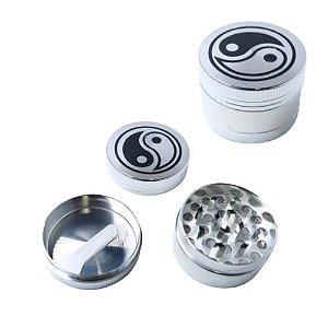 Dichavador Metal Yin Yang Cromado 3 Partes - Unidade