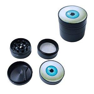 Dichavador Metal Preto Tampa Olho Azul 4 Partes - Unidade