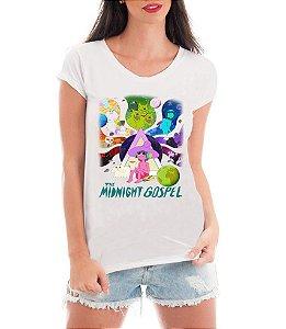 Camiseta The Midnight Gospel Camisa Desenho Animado Netflix Blusa Moda Geek Nerd Feminina