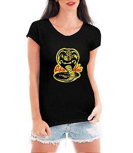 Camiseta Cobra Kai Logo Feminina Camisa Série Karatê Kid Blusa Personalizada Moda Geek Nerd