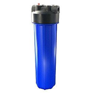 """Carcaça Big Blue em Policarbonato Azul para Filtros de 20"""" x 4.5"""" Purefer"""