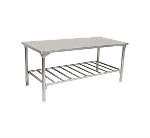 Mesa  em Inox para Cozinha Industrial com Prateleira Gradeada 190x85x70cm Innal