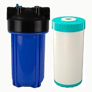 """RD08 - Filtro de Água 10"""" Big Blue Refil OneStop + Carcaça em Policarbonato Azul 10""""x4.5"""" para Ponto de Uso"""