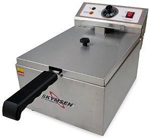 Fritadeira Elétrica Industrial Skymsen 1 Cuba Inox 5,5 Litros 2500w Fe-10-N
