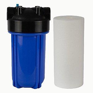 """RS38 - Filtro de Água 10"""" Big Blue Polipropileno + Carcaça em Policarbonato Azul 10""""x4.5"""" para Ponto de Uso Purefer"""