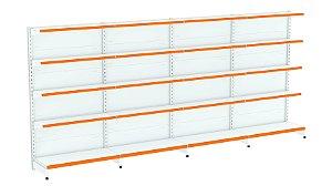 Kit Gôndola de Parede 1,70m Flex 40 com 1 Inicial + 3 Continuações