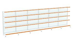 Kit Gôndola de Parede 1,70m Flex 40 com 1 Inicial + 5 Continuações