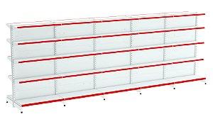 Kit Gôndola de Centro 1,96m Flex 40 com 1 Inicial + 4 Continuações