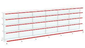 Kit Gôndola de Centro 1,96m Flex 40 com 1 Inicial + 5 Continuações