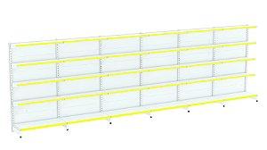 Kit Gôndola de Parede 1,96m Flex 40 com 1 Inicial + 5 Continuações
