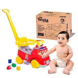 Carrinho de Bebe Totoka Plus Cardoso Toys Bombeiro com Haste para Empurrar