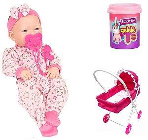 Boneca Bebe Ninos com Carrinho Luxo e Slime para Brincar