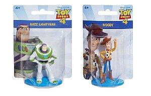 Kit com 2 Bonecos Toy Story 4 - Buzzlightyear e Woody de 5cm