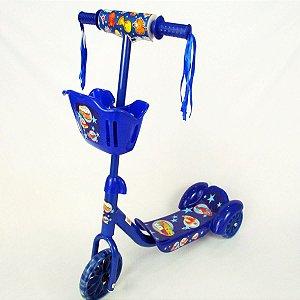 Patinete Com Cestinha E Rodinhas Em Gel Azul Menino - Unitoy