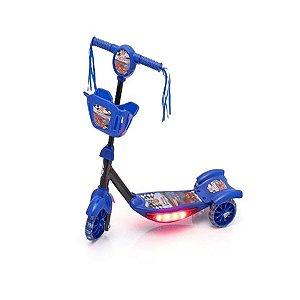 Patinete Com Cesta Azul Com Luz Emite Som Musical Infantil