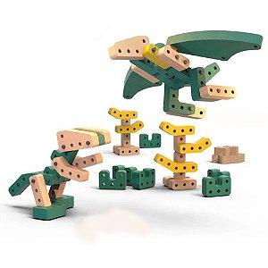 Brinquedo de montar Playou Invent Mais Dino Zás 37 peças