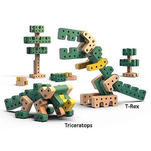 Brinquedo de montar Playou Invent Mais Dino Bang 41 peças