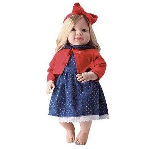 Boneca Bebe Loira Grande Louise Com Cabelo Longo - Bambola